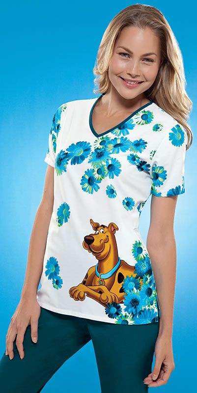 Scrubs - Cherokee Tooniforms Hidden Hound Scrub Top | Lydias Scrubs and Nursing Uniforms