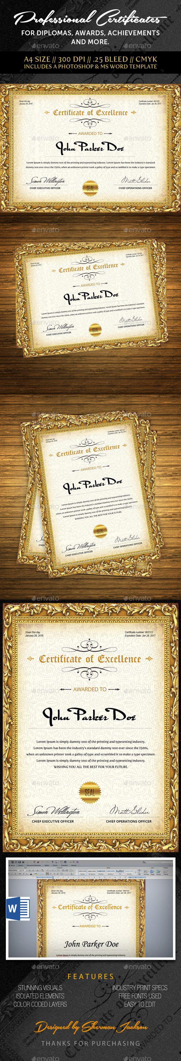 Best 25 certificate design template ideas on pinterest multipurpose professional certificate certificate designcertificate templatesgraphic design templatespsd xflitez Image collections