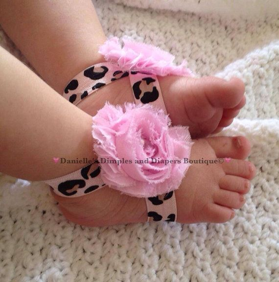 Leopard print barefoot sandals- cheetah print toe blooms-baby barefoot sandals- light pink cheetah on Etsy, $10.00