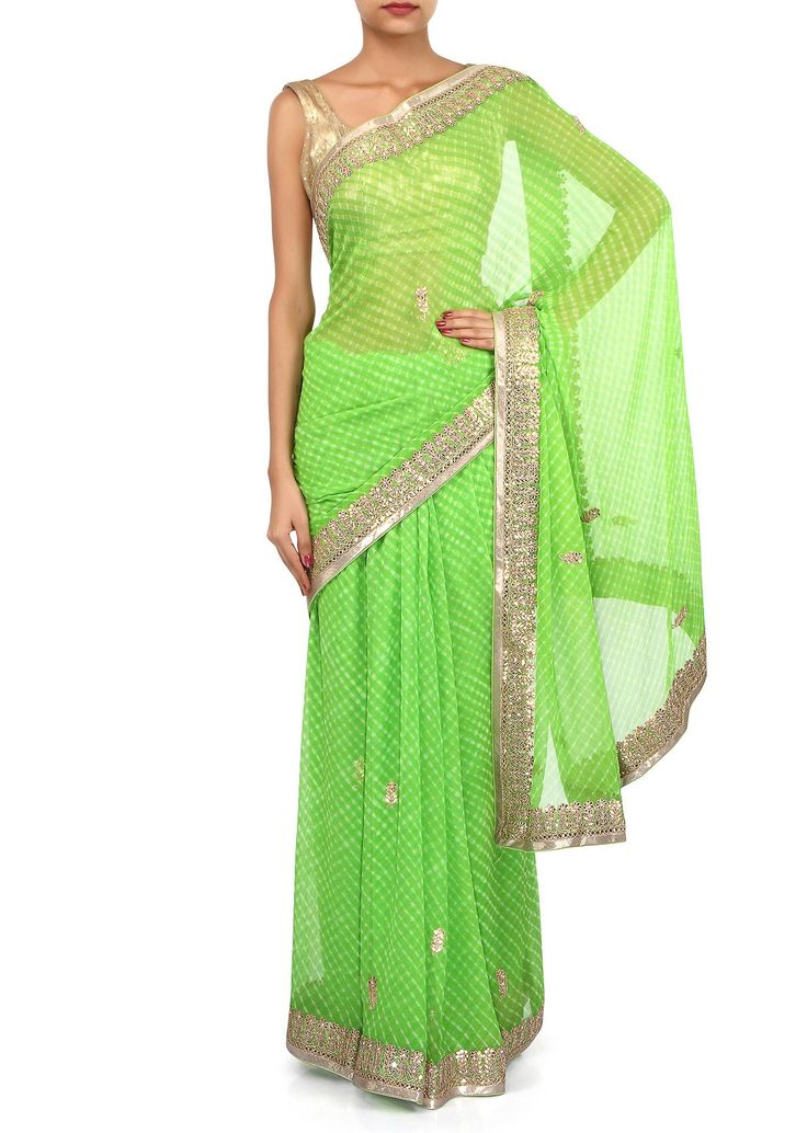 Green leheriya saree adorn in gotta patch work only on Kalki