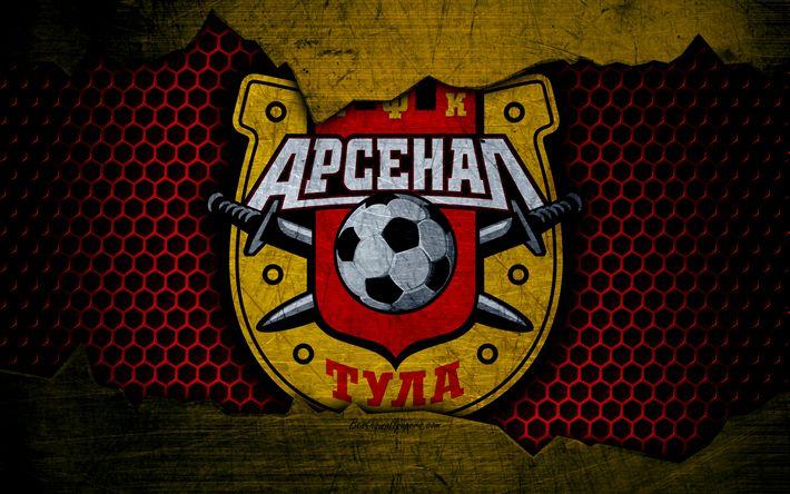 Download wallpapers Arsenal Tula, 4k, logo, Russian Premier League, soccer, football club, Russia, grunge, metal texture, Arsenal Tula FC
