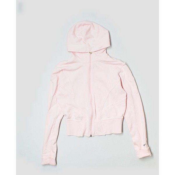 Pre-owned Nike Zip Up Hoodie ($19) ❤ liked on Polyvore featuring tops, hoodies, light pink, nike, hooded pullover, zip up top, sweatshirt hoodies and light pink zip up hoodie