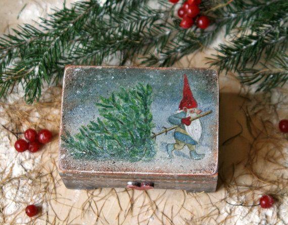 Trinket boxSmall Gift Storage Box gnome Small wood от DecoDvorik