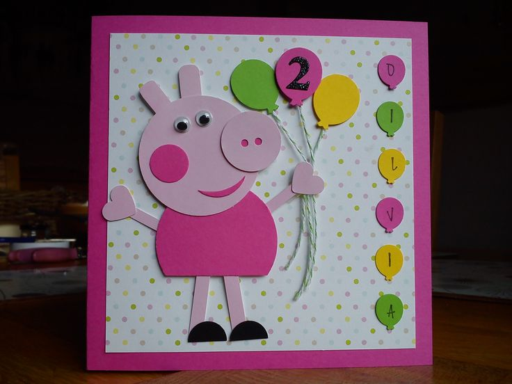 Handmade Peppa Pig birthday card I made for my friend's granddaughter