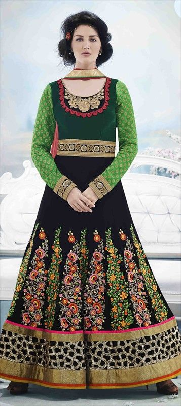 431312, Anarkali Suits, Georgette, Velvet, Machine Embroidery, Stone, Black and Grey, Green Color Family