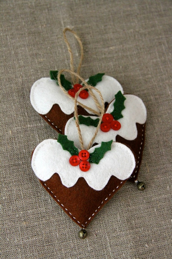 Christmas gingerbread hearts with a bell, lavender, value pack of 3. $16.00, via Etsy.