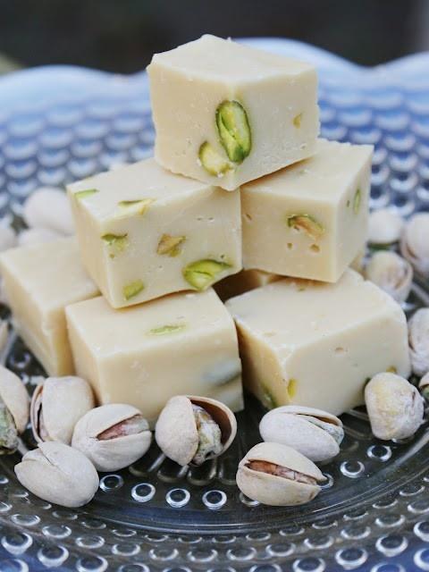 A Serving Tray Of Bailey's Irish Cream, White Chocolate and Pistachio Fudge.