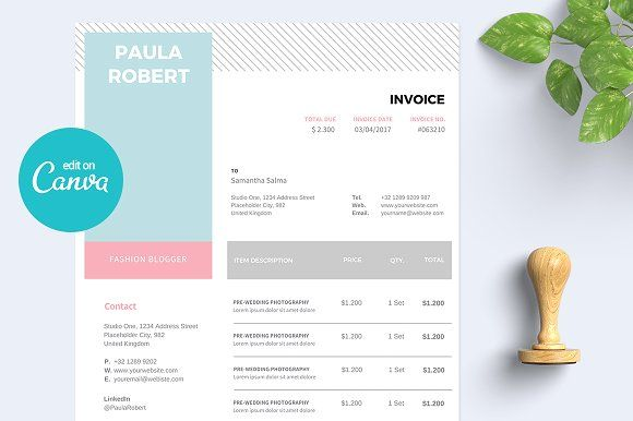 Canva Invoice Templates Stationery Templates Invoice Template