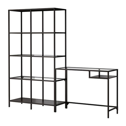 VITTSJÖ Shelving unit with laptop table IKEA Tempered glass and metal are durable materials that give an open, airy feel.
