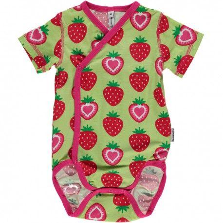 Wrap body short sleeve, strawberries green, Maxomorra