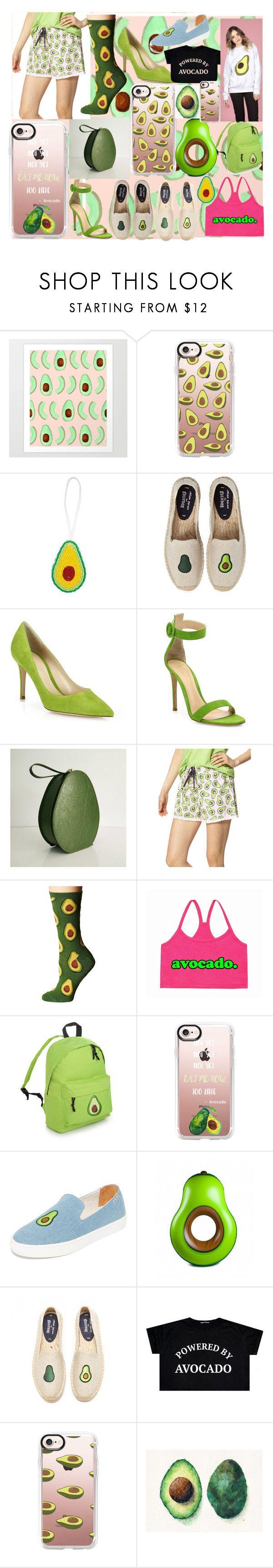 """Avocado"" by andieok on Polyvore featuring Casetify, Soludos, Gianvito Rossi, Hue, Socksmith, BigMouth, Tracie Andrews, McIndoe Design, Avocado and avo"