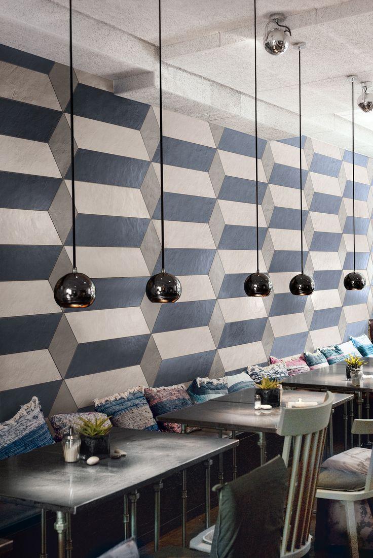 Questo ristorante è stato realizzato con il colore Blu decoro Modular della nostra collezione da rivestimento Visual Design. http://www.supergres.com/your-home/rivestimenti/item/925-visual