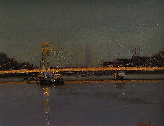 BoldBrush Painting Competition Winner - September 2017 | Albert Bridge By Night London by Michael John Ashcroft