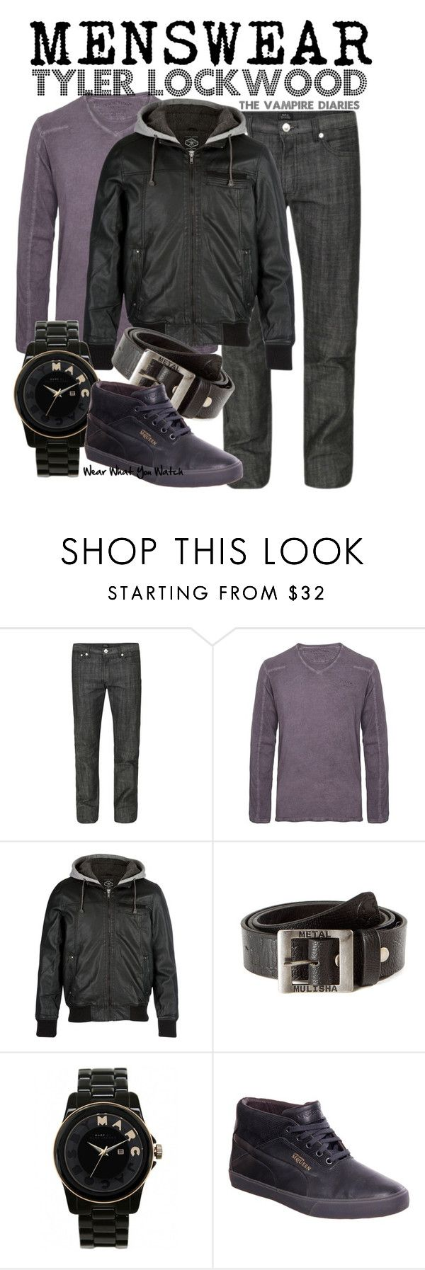 """The Vampire Diaries"" by wearwhatyouwatch ❤ liked on Polyvore featuring A.P.C., Firetrap, Metal Mulisha, Marc by Marc Jacobs, Puma, bomber jackets, oversized watches, michael trevino, loose denim and menswear inspired"