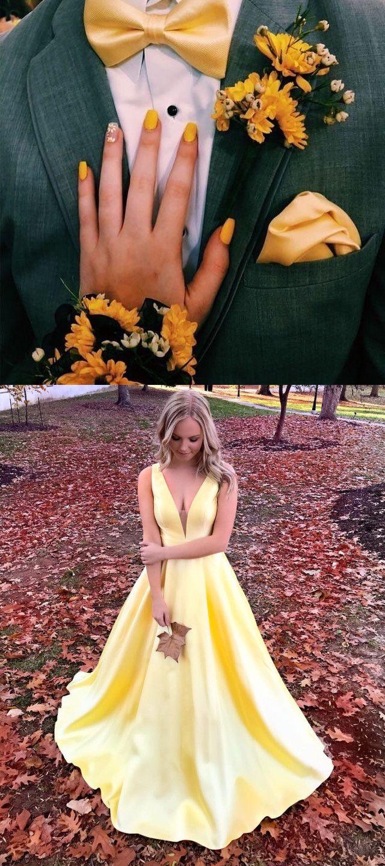 simply elegant yellow prom dress, long prom dress 2019, satin prom dress, graduation dress #dreamdressy #promdress #graduationdress #partydress