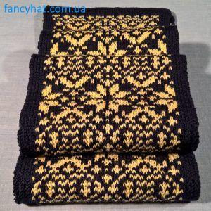 Шарфик сине-желтый с орнаментом «Звездочки»