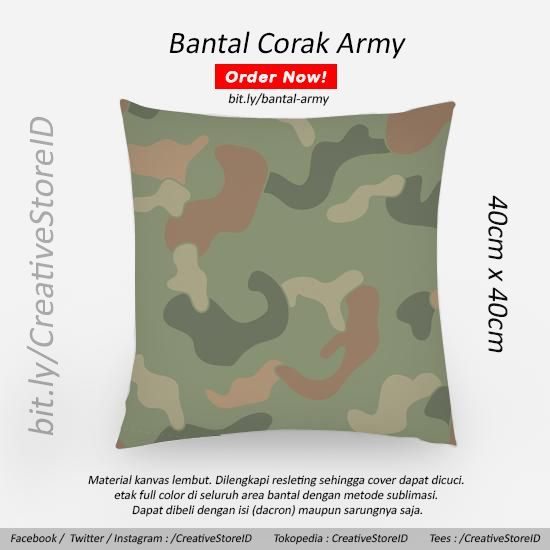 Army motif pillow - tees indonesia