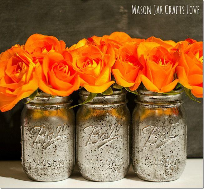 Love the Orange Roses with the DIY Mercury Glass Mason Jars!