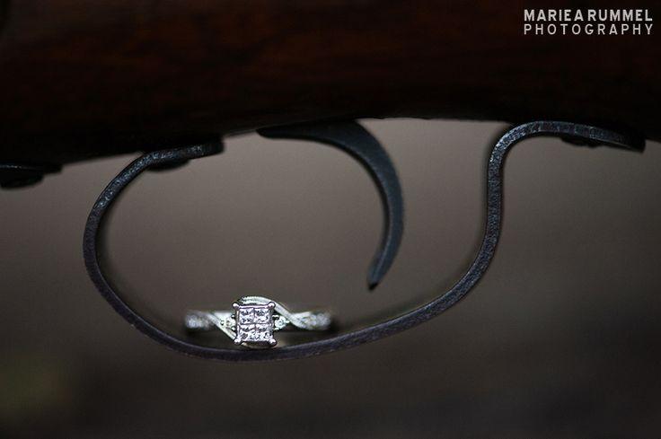 a gun and an engagement ring. Placerville Wedding Photographer. Mariea Rummel Photography. http://www.mariearummel.com/blog/charles-juliet-placerville-wedding-photographer