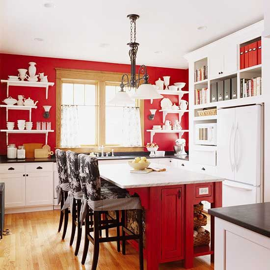 Red kitchen design ideas kitchen in red country for Red white and black kitchen designs