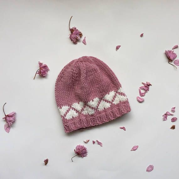 baby girl knitted hat pink hat with hearts knit baby hat