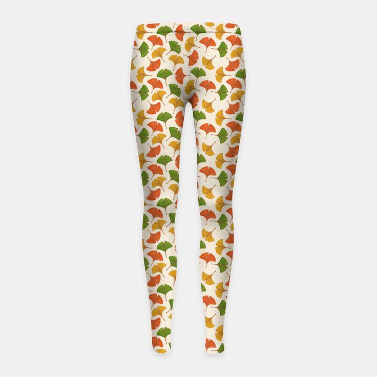 Fall ginkgo leaves pattern Girl's Leggings, Live Heroes