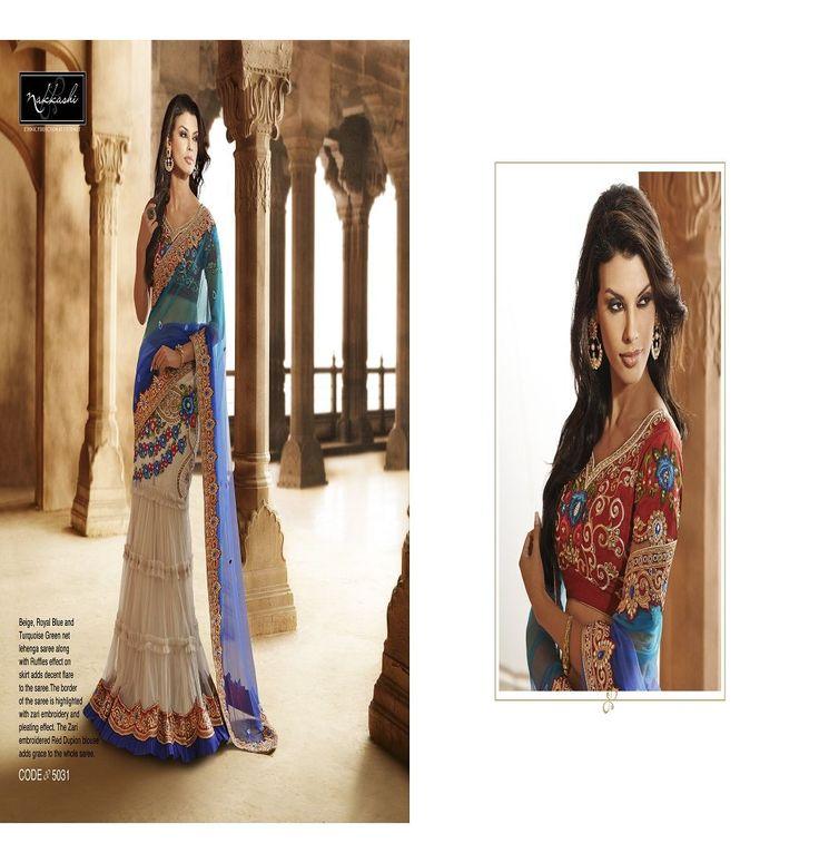 Beige Royal Blue turquoise green designer saree Vaaman creation