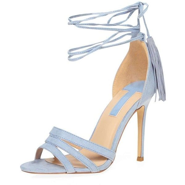 Dorothy Perkins Blue 'Sunset' Tassel Tie Sandals ($59) ❤ liked on Polyvore featuring shoes, sandals, blue, ankle strap sandals, ankle tie shoes, blue shoes, high heel ankle strap shoes and heeled sandals