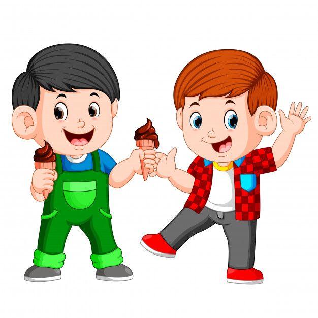Dos Nino Comiendo Helado De Chocolate En Premium Vector Freepik Vector Comida Verano Luz Dibujos Animados Ninos Helado Animado Ninos Autistas