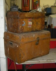 Antique Metal Servant's Trunks