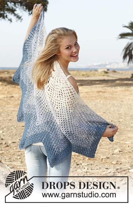 "Edelweiss / DROPS 145-6 - Crochet DROPS shawl with zig-zag pattern in 2 strands ""BabyAlpaca Silk""."