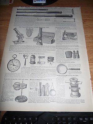 ANTIQUE VICTORIAN TELESCOPE ADVERTISING TELESCOPE , MAGNIFYING MICROSCOPE C 1883