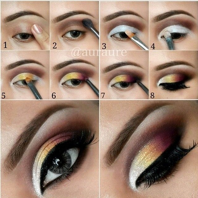 Dark plum and yellow gradient eye makeup tutorial