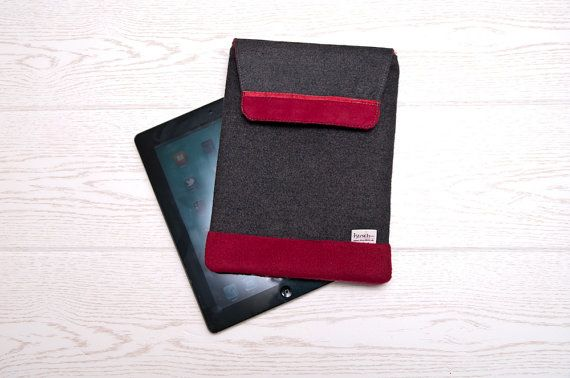 iPad Sleeve Case in Grey Wool mix and dark red by VanKirsch