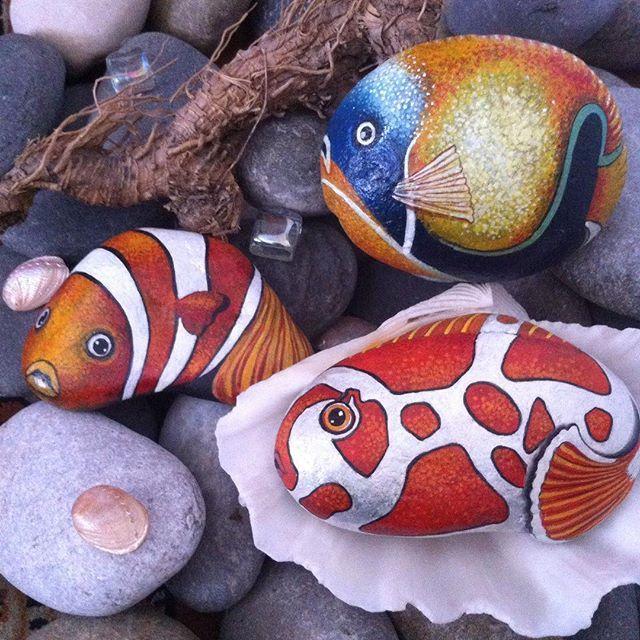 #denizdibi #underwater #fish #taşboyama #stoneart #elyapımı #handmade #animallovers #artlovers #dekoratiftasarım #balkon #renklidünya #colors #instamakers #tagstagram #handmade #art