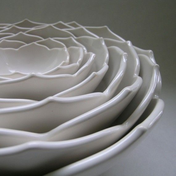Eight Nesting Lotus Ceramic Bowls in Milk White. $325.00, via Etsy.Lotus Bowls, Whitney Smith, Pottery, Lotus Ceramics, Nests Lotus, Whitneysmith, Nests Bowls, Unique Gift, Ceramics Bowls