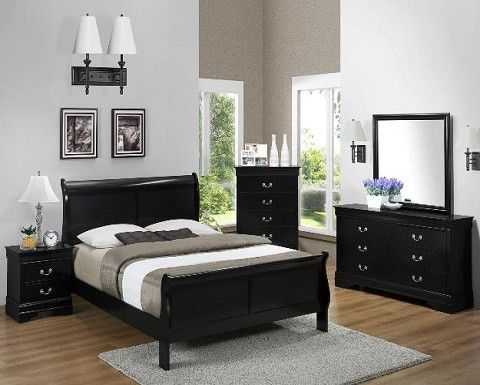 B3900 Louis Philippe Sleigh Black Bedroom Collection
