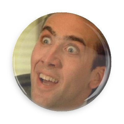 Celebrate the greatness of Nick Cage with this stylish button. Each pin back button measures approximately 1.5 inches in diameter and has a metal back with pin.