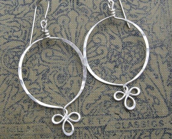 Sterling Silver Fancy Loop Hoop Earrings  by nicholasandfelice, $ 22.00