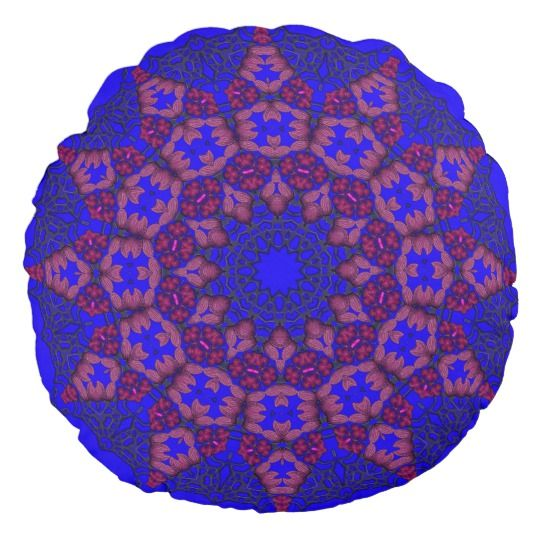 3D Art Mandala Round Throw Pillow by www.zazzle.com/htgraphicdesigner* #zazzle #gift #giftidea #blue #pillow #cushion #abstract #mandala
