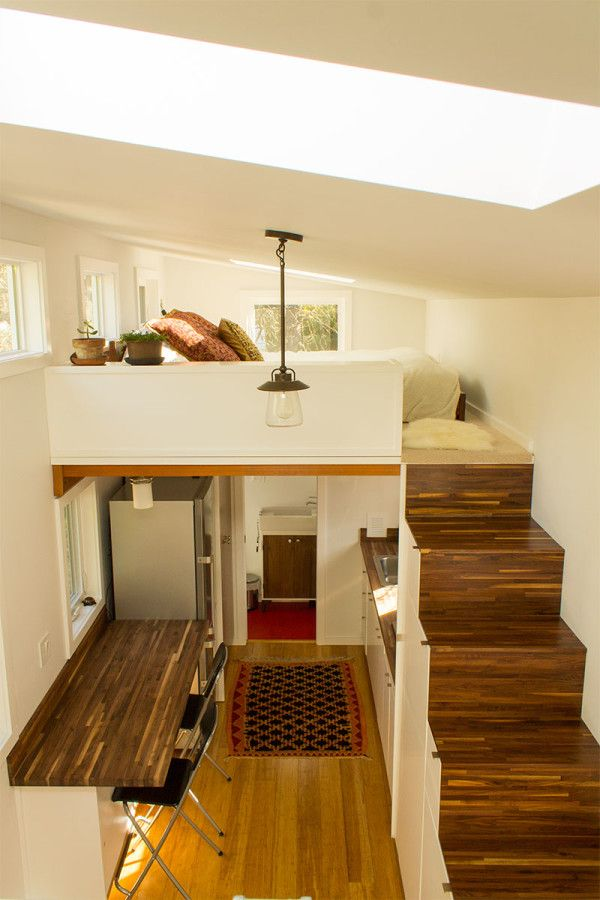 Wood Detailing  Hikari Box Tiny House Interior From Guest Loft From Shelter  Wise And PAD Tiny Houses