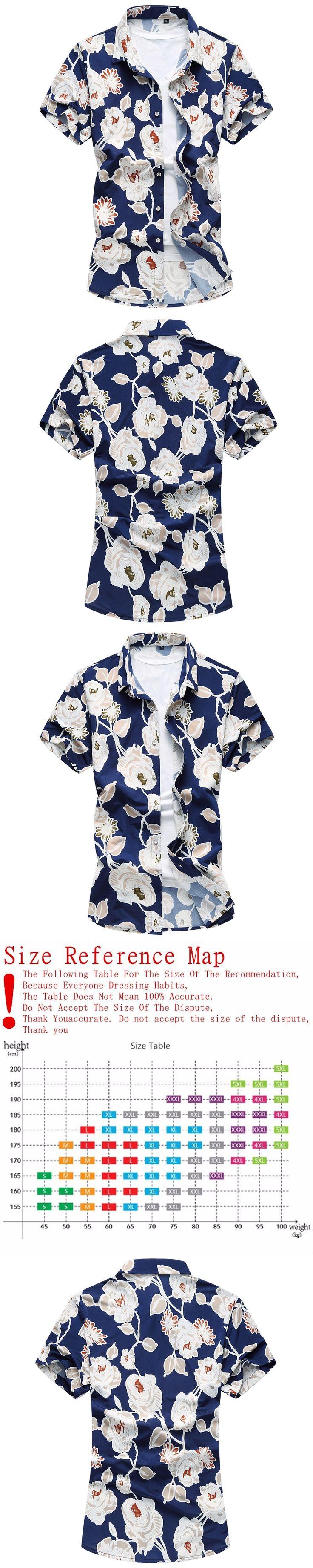 Mens Hawaiian Shirt 2017 Male Casual camisa masculina Printed Beach Shirts Short Sleeve brand clothing Plus size 6XL 007