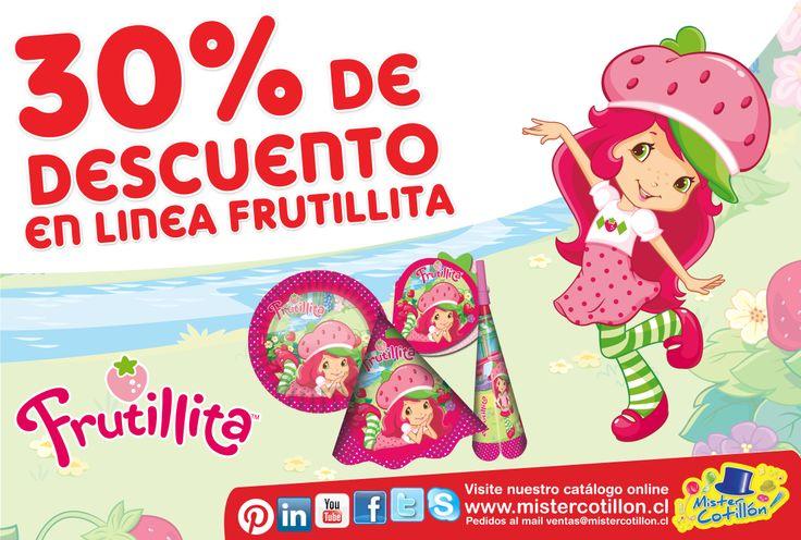 RECUERDEN!! SOLO POR ESTA SEMANA TODA LA LINEA DE FRUTILLITA TIENE UN 30% DE DESCUENTO EN TODAS NUESTRAS TIENDAS MISTER COTILLON DE SANTIAGO Y LA QUINTA REGION SOLO DESDE ESTE LUNES 3 AL DOMINGO 9 DE MARZO!! NO LO OLVIDES TE ESPERAMOS!!  (Descuento no incluye gorro festejado, vela y productos alternativos a la linea), No valido con ot