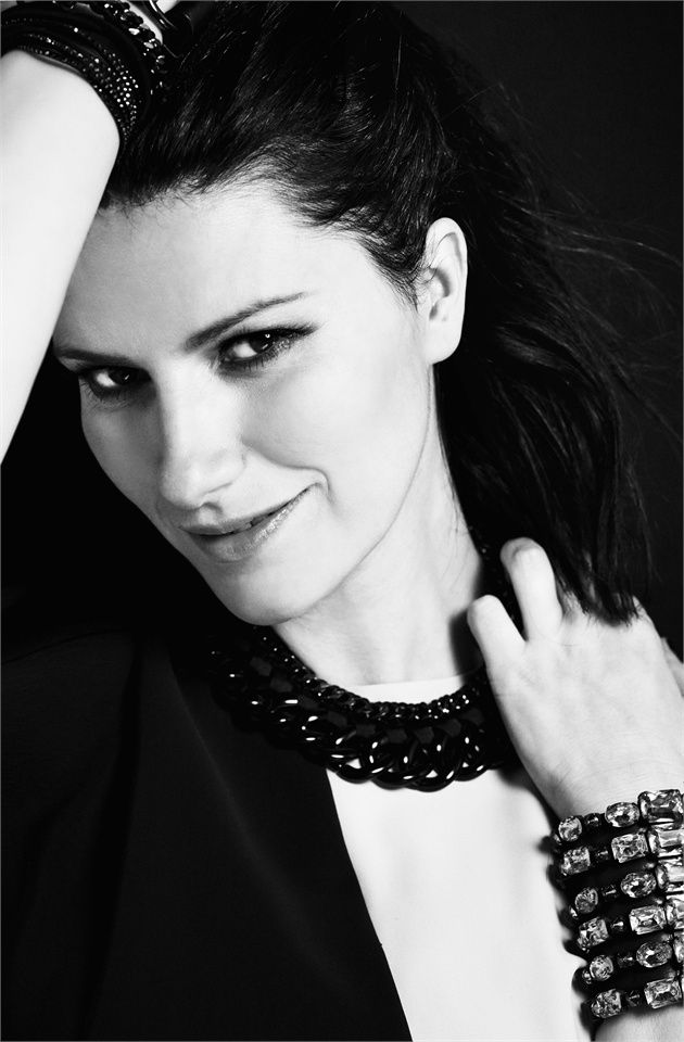Laura Pausini wearing #Armani clothing and bracelets