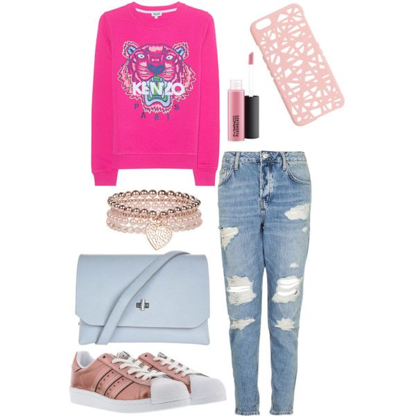 A fashion look from May 2017 by somolicek featuring Kenzo, adidas Originals, Topshop, Monsoon, Miss Selfridge and MAC Cosmetics