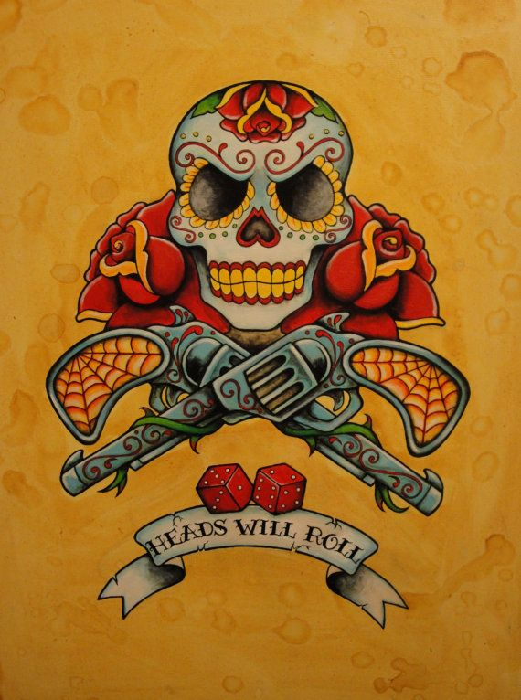 Day of the Dead Neo-Traditional, Old School Tattoo Flash Print. $5.00, via Etsy.