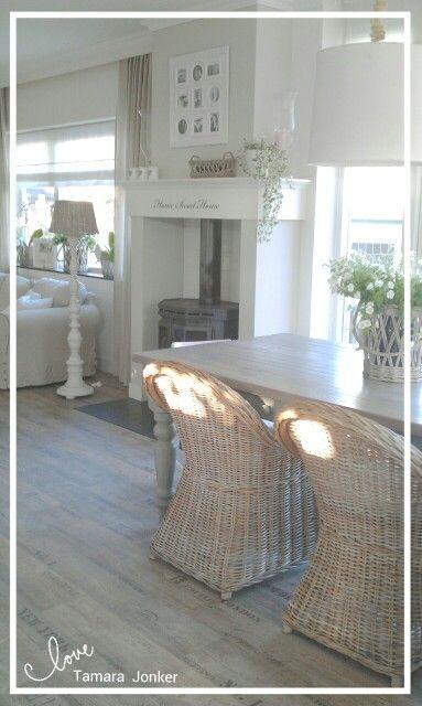 ♡Dining room by Tamara Jonker # fireplace # rattan # home inspirations & decorations # landelijke stijl