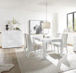 Sala completa di tavolo e 2 madie in bianco laccato lucido serigrafato