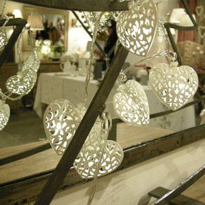 Guirlande lumineuse coeurs métal blanc 20 leds Jardin dUlysse