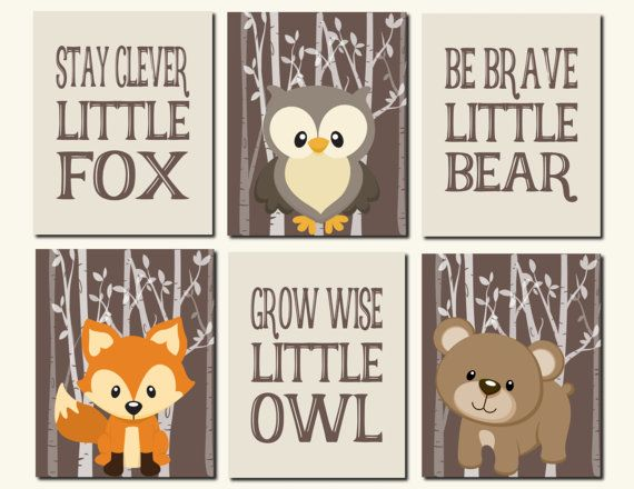Woodland Wall Art Carters Forest Friends Kids Wall by vtdesigns